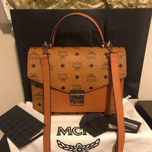 💯% Authentic MCM Medium Satchel Handbag Cognac